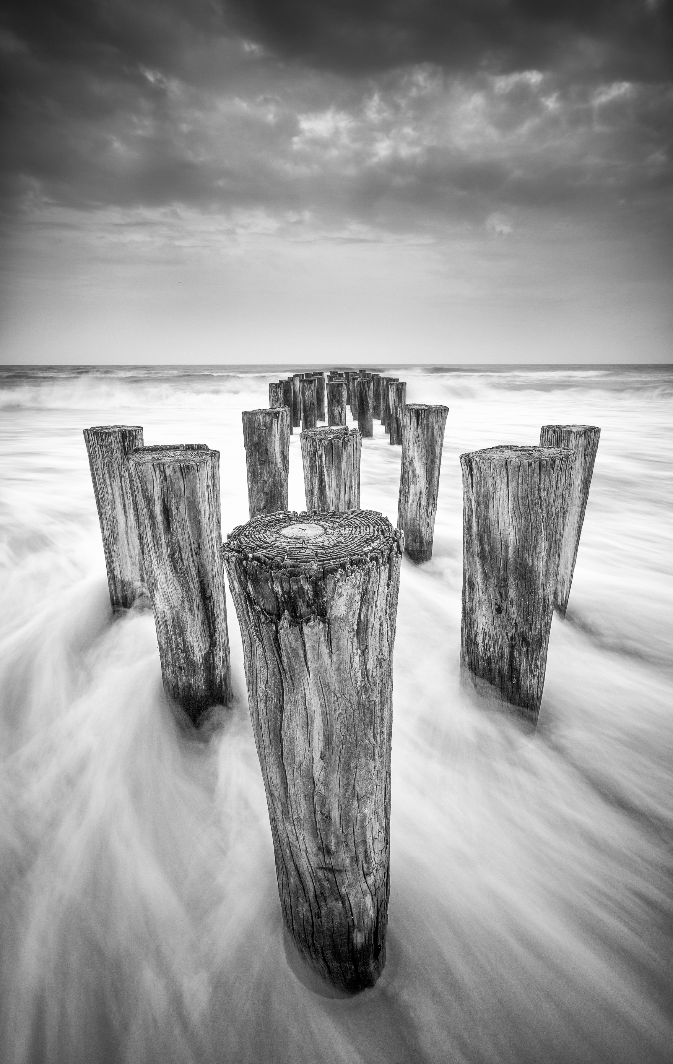 Tropical Storm Debbie Black and White Pilings